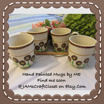 Unique One of a Kind Hand Painted By ME Brown and Gold Coffee Mugs - Set of 4 - HAPPY DOT Design - Great Gift Idea -Kitchen and Dining Decor