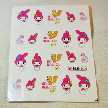 2 sheets of sanrio water transfer nail sticker, 20 pcs each sheet, melody and little twin stars cartoon nail decal