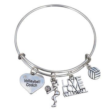 Volleyball Coach Bangle Bracelet