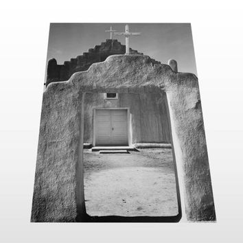 mexican print, black and white photography, desert, new mexico, download, church, adobe architecture, poster, american decor, wall art, boho
