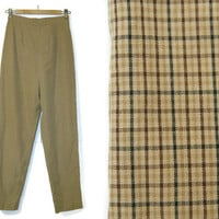 Vintage Pants~Waist 24/25~Size Small~80s 90s High Waisted Beige Tan Brown Black Plaid Gingham Work Pants~By Ann Taylor