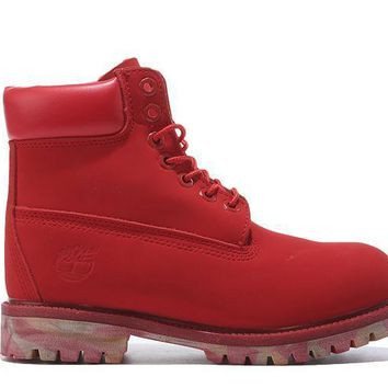 Timberland Icon 6 inch Premium With Camo Outsole Red Waterproof Boots