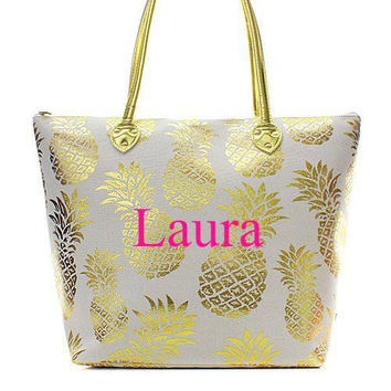 Monogrammed White Pineapple Tote Bag  Personalized Tote Bag  Monogrammed Beach Bag  Bridesmaids Gift