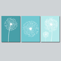 DANDELION Wall Art CANVAS or Prints Flower Teal Custom Colors Modern Nursery Set of 3 Bedroom Bathroom Dorm