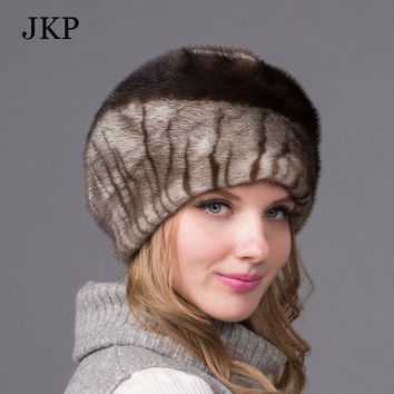 Russian winter fur hat for women real mink fur hat with diamond fashion hot sale women fur cap good quality ear protector