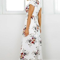 A| Deep V Neck Short Sleeve Floral Printed Split Maxi Dress