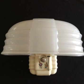 Vintage Porcelier Porcelain Wall Sconce with Unique Art Deco Slip Shade 1930s