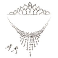 BMC 3pc Womens Elegant Rhinestone Fashion Bridal Wedding Necklace, Earring, Tiara Prom Pageant Jewelry Set, Countess Collection - STYLE 5