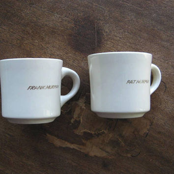 Pair of Vintage U.S. Navy Coffee Mugs w/ Last Name 'Murphy;' From Serviceman's Mess; Cream w/ Gold & USN Insignia; Vintage Diner Style