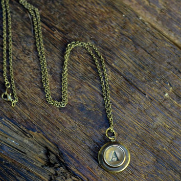 Personalized Locket, Choose Your Letter - Antique Bronze and Brass - Gold Initial Necklace, Initial Locket Pendant, Personalized Jewelry