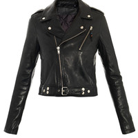 Handmade women Black leather Jacket, women black biker Leather Jacket with belted
