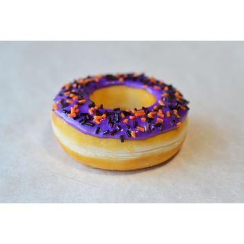 Spooky Purple Halloween Doughnut Magnet, Polymer Clay Food Decor Fridge Magnet