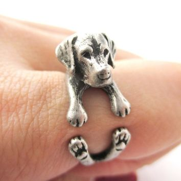 3D Labrador Retriever Puppy Animal Wrap Ring in Silver - Sizes 4 to 8.5 from DOTOLY