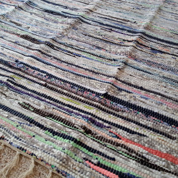 SALE! Perfect Rag Rug / Large Scrap Multi Color Area Rug / Hand Woven Floor Mat / Boho Rug