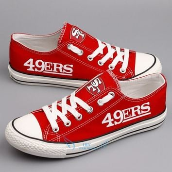 Print 2018 men women unisex San Francisco red white diy Shoes for 49ers fans gift size 35-44 0308-12