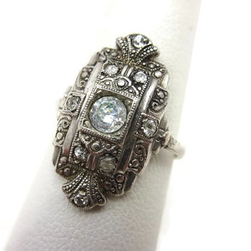 Sterling Art Deco Ring - 1930s Czech, Statement Ring, Clear Glass Stones, Estate Jewelry