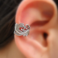 Sterling Silver Handcrafted  Textured Ear Cuff  Hoop Earring Cartilage/catchless/helix
