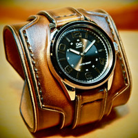 Leather cuff watch Tobacco sunburst wide layered made in NYC