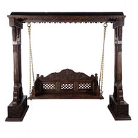 Teak Wood Intrinsic Carving Hand Polished Swing Set With Brass Chain