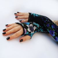 Wild Poppies  black  and blue fingerless gloves, arm warmers, mittens with  black lace-  Gothic, Dark, victorian, arm warmers