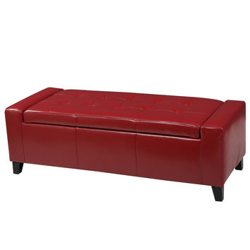Robin Red Leather Storage Ottoman Bench
