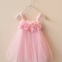 Baby Girl Summer Dress One-piece Suspender Dress Kids Pleated Straps Skirt Tutus