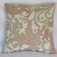 """Pink and Green Paisley Pillow Cover, 15"""" Square, Cotton Blend Brocade on Soft White, Preppy Boho Decor, Ready Ship"""
