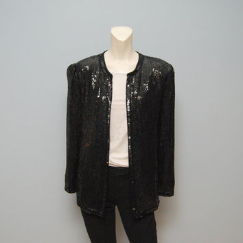 Vintage 1980's Collarless Black Sequined Blazer Silk Jacket Sequin Coat Size Small Oversized Dressy Chic Scarlet Rage
