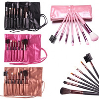 Hot Sale 7 Pieces Travel Makeup Brush With Faux Leather Roll Pouch Bag