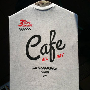 Hot Blood - Cafe All Day White T-Shirt