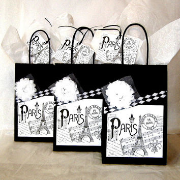 French Paris Apartment Style Black and White Paper Gift Bag Set with Paris Eiffel Tower Labels, Fabric Flowers, & Matching Tags