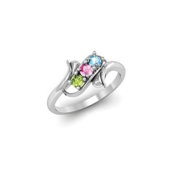 Sterling Silver Synthetic 3 Stone Mother's Ring - 3 Stones