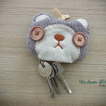 Bear Keychain Pouch - Bear accessories - key pouch -  READY TO SHIP