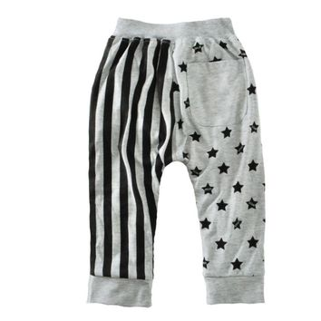 American flag gray casual harem pants stripes stars children's autumn and winter trousers - (Europe) / (Asia)