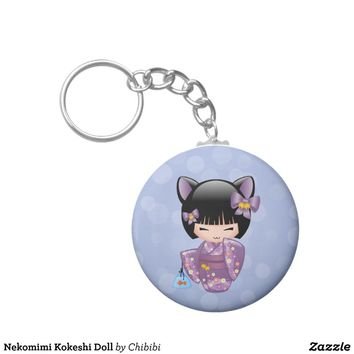 Nekomimi Kokeshi Doll Key Chain from Zazzle.com