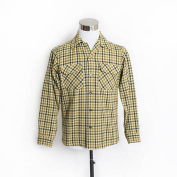 Vintage 1970s PENDLETON Shirt - Wool Plaid Green Button Up Oxford - Small / Medium