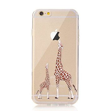 iPhone 6 Case,iPhone 6S Case LUOLNH [New Creative Design] Flexible Soft TPU Silicone Gel Soft Clear Phone Case Cover for iPhone 6/6S 4.7 inch,( 2 Giraffe)