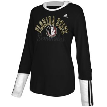 adidas Florida State Seminoles :FSU: Ladies Double Layer Long Sleeve Hooded T-Shirt - Black