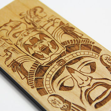 Maya Mythology Real Wood Engraved iPhone 7/6s/6 Case,iPhone 7/6s/6 plus case,iPhone SE/5/5S,Natural Wooden Galaxy S7/S6 Edge Case,Galaxy S5