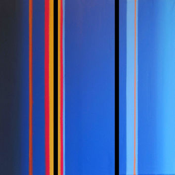 "EXTRA LARGE WALL art triptych 3 panel wall contemporary art ""Linear Blue"" canvas wall original painting abstract canvas wall kunst 48 x 48"""