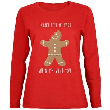 DCCKU3R Christmas Gingerbread Man Can't Feel My Face Womens Long Sleeve T Shirt