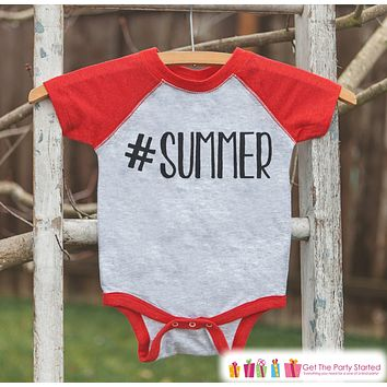 Hashtag Summer Onepiece or Raglan - Summer Outfit For Kids - Red Baseball Tee or Onepiece - Fun Summer Outfit for Baby, Youth, Toddler