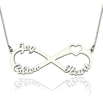 Personalized sterling silver 3 name necklace