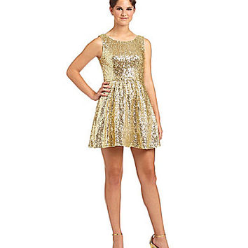 B. Darlin Sleeveless Sequin Skater Dress - Gold