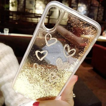 Simple Luxury Love Heart Hard PC Gold Bead Bling Glitter Dynamic Liquid Quicksand Phone Case For iPhone 6 6S 7 8 Plus X 10 Cases