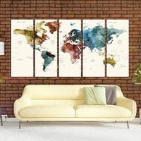 watercolor push pin World map wall art canvas print extra large canvas art for kids room, world travel tracker map wall decor, large wall art world map multi panel 5 pieces hr118