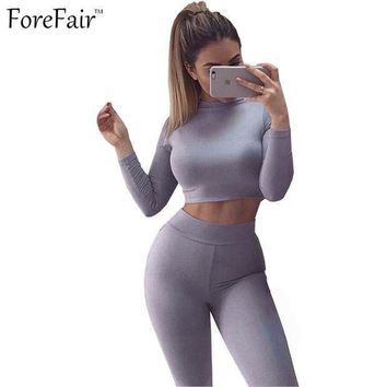 ESBONRZ ForeFair Black Grey Khaki 2 Piece Bodycon Jumpsuit Long Sleeve Crop Top Pants Style Sexy Bodysuit Cotton Fitness Playsuit