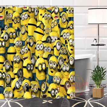 Popular Custom Minions Eco friendly Polyester Fabric Printing Modern Shower Curtain Bathroom Waterproof Bath Curtain Gift
