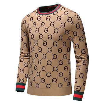 GUCCI Classic Popular Men Women Warm Long Sleeve Knit Sweater Sweatshirt Khaki