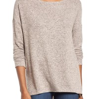 Gibson Cozy Fleece Ballet Neck High/Low Pullover | Nordstrom